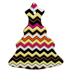 Colorful Chevron Pattern Stripes Ornament (christmas Tree)  by Nexatart