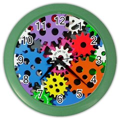 Colorful Toothed Wheels Color Wall Clocks by Nexatart