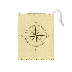 Compass Vintage South West East Drawstring Pouches (medium)  by Nexatart