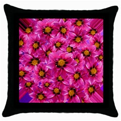 Dahlia Flowers Pink Garden Plant Throw Pillow Case (Black)