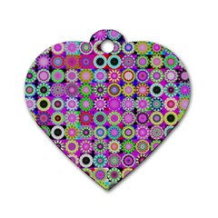 Design Circles Circular Background Dog Tag Heart (one Side) by Nexatart