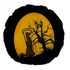 Death Haloween Background Card Large 18  Premium Flano Round Cushions by Nexatart