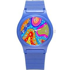 Doodle Pattern Round Plastic Sport Watch (s) by Nexatart