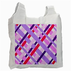 Diagonal Gingham Geometric Recycle Bag (Two Side)  by Nexatart