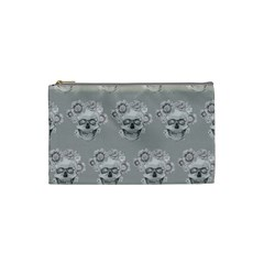 Grey Floral Skull Sketch Cushion Cosmetic Bag (small)  by Coralascanbe