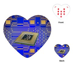 Processor Cpu Board Circuits Playing Cards (heart)  by Nexatart