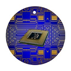 Processor Cpu Board Circuits Round Ornament (two Sides) by Nexatart