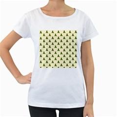 Leaf Pattern Green Wallpaper Tea Women s Loose-Fit T-Shirt (White) by Nexatart