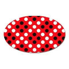 Red & Black Polka Dot Pattern Oval Magnet by Nexatart