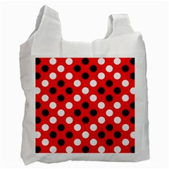 Red & Black Polka Dot Pattern Recycle Bag (one Side) by Nexatart