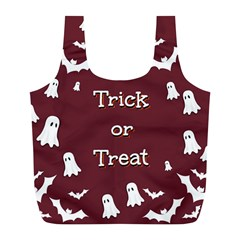 Halloween Free Card Trick Or Treat Full Print Recycle Bags (l)  by Nexatart