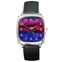 Lights Abstract Curves Long Exposure Square Metal Watch by Nexatart
