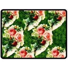 Floral Collage Fleece Blanket (large)  by Nexatart