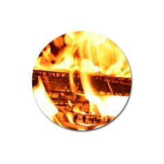 Fire Flame Wood Fire Brand Magnet 3  (round) by Nexatart