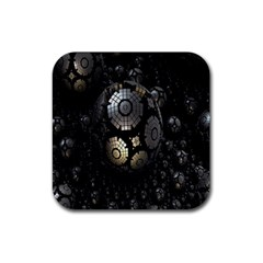 Fractal Sphere Steel 3d Structures Rubber Square Coaster (4 Pack)  by Nexatart