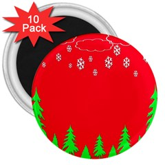 Merry Christmas 3  Magnets (10 Pack)  by Nexatart