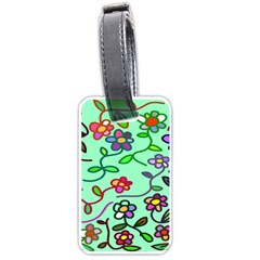 Flowers Floral Doodle Plants Luggage Tags (one Side)  by Nexatart