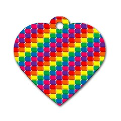 Rainbow 3d Cubes Red Orange Dog Tag Heart (one Side) by Nexatart