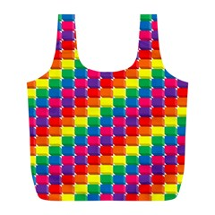Rainbow 3d Cubes Red Orange Full Print Recycle Bags (l)  by Nexatart