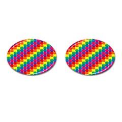Rainbow 3d Cubes Red Orange Cufflinks (oval) by Nexatart