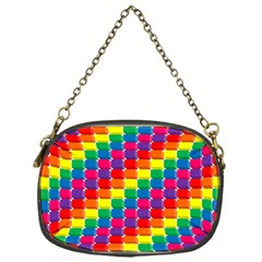Rainbow 3d Cubes Red Orange Chain Purses (one Side)  by Nexatart
