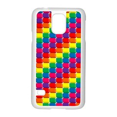 Rainbow 3d Cubes Red Orange Samsung Galaxy S5 Case (white) by Nexatart