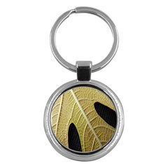 Yellow Leaf Fig Tree Texture Key Chains (round)  by Nexatart