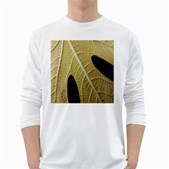 Yellow Leaf Fig Tree Texture White Long Sleeve T Shirts by Nexatart