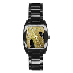 Yellow Leaf Fig Tree Texture Stainless Steel Barrel Watch by Nexatart