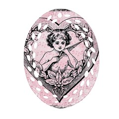 Heart Drawing Angel Vintage Oval Filigree Ornament (two Sides) by Nexatart