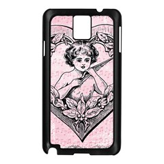 Heart Drawing Angel Vintage Samsung Galaxy Note 3 N9005 Case (black) by Nexatart