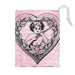 Heart Drawing Angel Vintage Drawstring Pouches (extra Large) by Nexatart