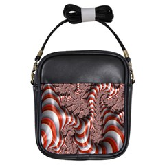 Fractal Abstract Red White Stripes Girls Sling Bags by Nexatart