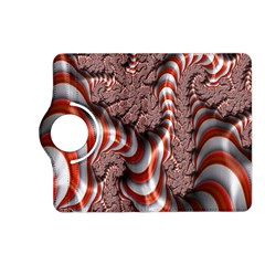 Fractal Abstract Red White Stripes Kindle Fire Hd (2013) Flip 360 Case by Nexatart