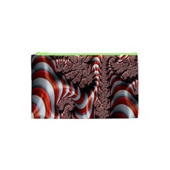 Fractal Abstract Red White Stripes Cosmetic Bag (xs) by Nexatart
