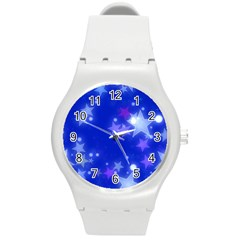 Star Bokeh Background Scrapbook Round Plastic Sport Watch (m) by Nexatart