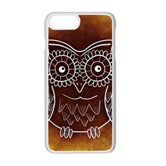 Owl Abstract Funny Pattern Apple iPhone 7 Plus White Seamless Case by Nexatart