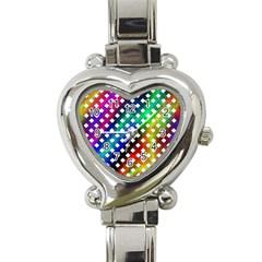 Pattern Template Shiny Heart Italian Charm Watch by Nexatart