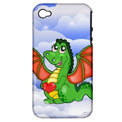 Dragon Heart Kids Love Cute Apple Iphone 4/4s Hardshell Case (pc+silicone) by Nexatart