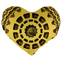 Gears Large 19  Premium Flano Heart Shape Cushions by Nexatart