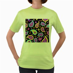Paisley Pattern Background Colorful Women s Green T-Shirt
