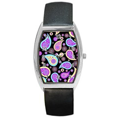 Paisley Pattern Background Colorful Barrel Style Metal Watch by Nexatart