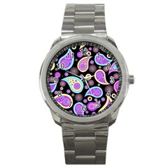 Paisley Pattern Background Colorful Sport Metal Watch by Nexatart