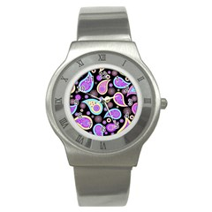 Paisley Pattern Background Colorful Stainless Steel Watch by Nexatart