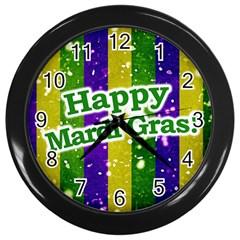 Happy Mardi Gras Poster Wall Clocks (black) by dflcprints