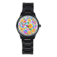 Floral Paisley Background Flower Stainless Steel Round Watch by Nexatart