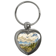 Valley And Andes Range Mountains Latacunga Ecuador Key Chains (heart)  by dflcprints