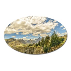 Valley And Andes Range Mountains Latacunga Ecuador Oval Magnet by dflcprints