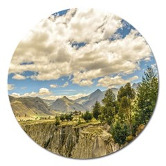 Valley And Andes Range Mountains Latacunga Ecuador Magnet 5  (round) by dflcprints