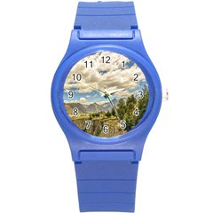 Valley And Andes Range Mountains Latacunga Ecuador Round Plastic Sport Watch (s) by dflcprints